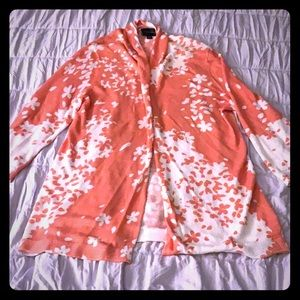 Peachy Pink and White Flower lightweight cardigan